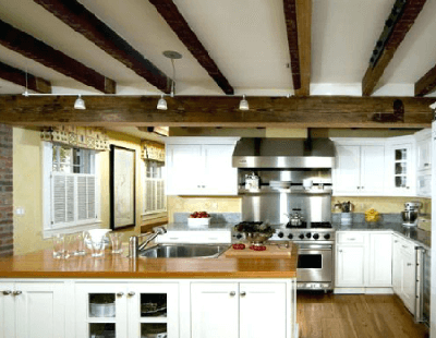 Kitchen With Exposed Ceiling Joist
